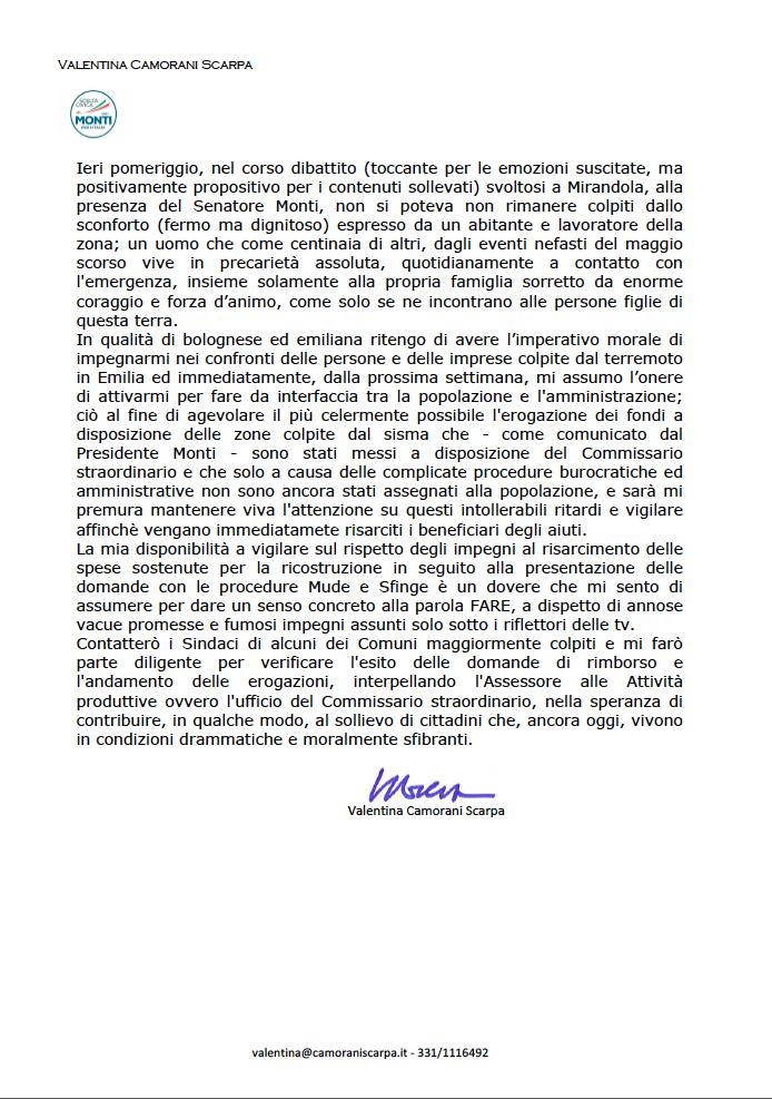 VCS scelta civica - Terremoto Emilia ed incontro a Mirandola